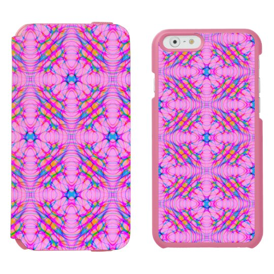パステル調ピンクの万華鏡のように千変万化するパターンパターン抽象芸術 iPhone 6/6Sウォレットケース