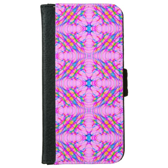 パステル調ピンクの万華鏡のように千変万化するパターンパターン抽象芸術 iPhone 6/6S ウォレットケース
