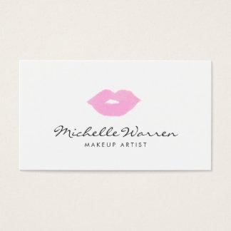 パステル調ピンクの唇の水彩画のメーキャップアーティスト 名刺