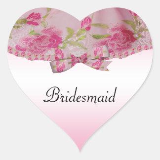 パステル調ピンクの昨年のレースの花及び弓結婚式 ハートシール