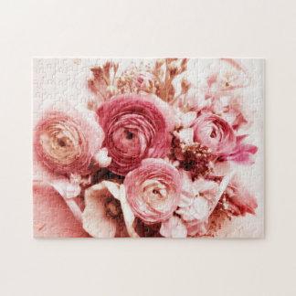 パステル調ピンクの花 ジグソーパズル