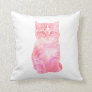 パステル調ピンク猫の枕 クッション