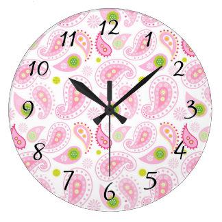 パステル調ピンクPaisely ラージ壁時計