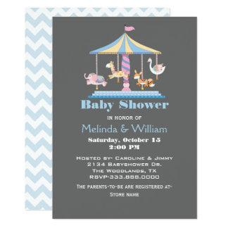 パステル調動物の回転木馬のベビーシャワーの招待状 カード