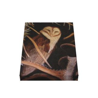 パステル調動物の絵画のメンフクロウ キャンバスプリント