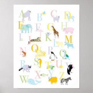 パステル調動物ABCのプリント ポスター