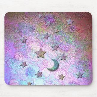 パステル調神秘的な金属月および星 マウスパッド