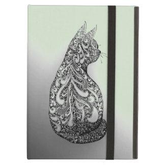 パステル調grの元のデザインの白黒子猫 iPad airケース