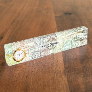 パスポートのスタンプのプリントの名札 デスクネームプレート