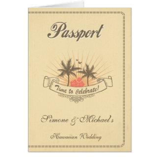 パスポートの招待状か保存日付-ビーチ カード