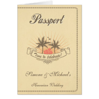 パスポートの招待状か保存日付-ビーチ グリーティングカード