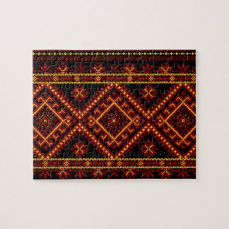 パズルのウクライナの十字のステッチの刺繍の赤の金ゴールド ジグソーパズル