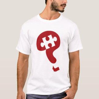 パズルのハブの大きい傾けられたロゴのオーガニックなティー! Tシャツ