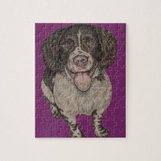 パズルの幸せなスパニエル犬のかわいいスケッチ ジグソーパズル