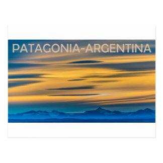 パタゴニアの景色の日没場面、アルゼンチン ポストカード
