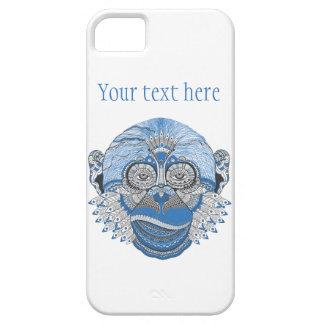 パターンおよび羽が付いている青い猿の顔 iPhone SE/5/5s ケース