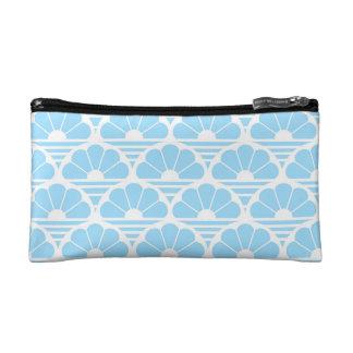 パターンかわいらしい淡いブルーの白い花の日の出 コスメティックバッグ