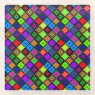 パターンをくまなく水晶継ぎ目が無い正方形の明るい ガラスコースター