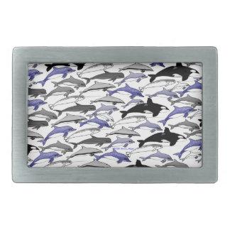 パターンを泳いでいるイルカおよびシャチ 長方形ベルトバックル