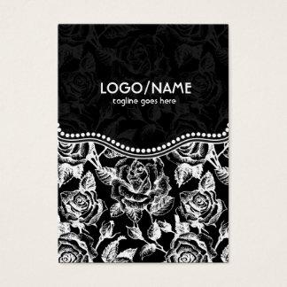 パターンカスタマイズ黒く及び白いヴィンテージのバラ 名刺
