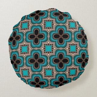 パターンティール(緑がかった色)のタンのモロッコの幾何学的な花黒 ラウンドクッション