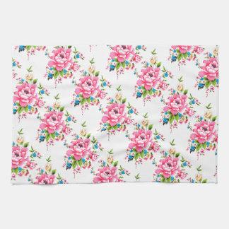 パターンピンクのシャクヤクの花束の結婚 キッチンタオル