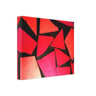 パターン抽象的なタイルの赤いコントラスト色の美しい キャンバスプリント