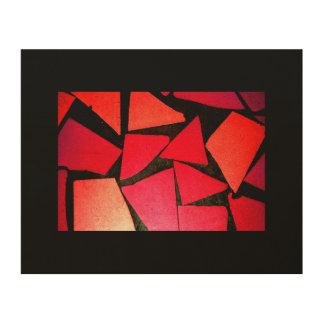 パターン抽象的なタイルの赤いコントラスト色のbeautifu ウッドウォールアート