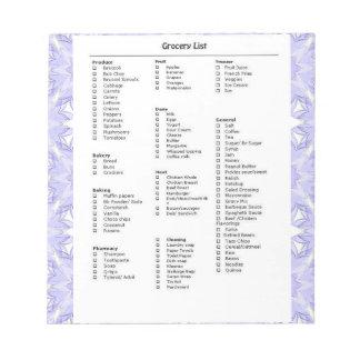 パターン紫色の食料雑貨のリストのメモ ノートパッド