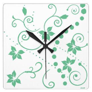 パターン葉の緑の花の~の編集可能背景 スクエア壁時計