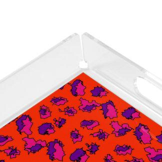 パターン(の模様が)あるなオレンジピンクの紫色の組合せの抽象芸術 アクリルトレー