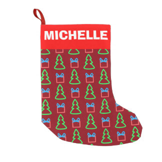 パターン(の模様が)あるなクリスマスツリーおよびプレゼント スモールクリスマスストッキング
