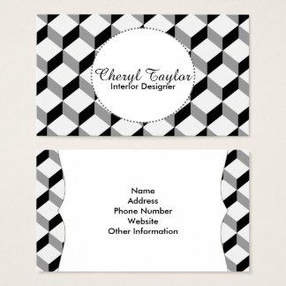 パターン(の模様が)あるなモダンな白黒幾何学的な立方体 名刺