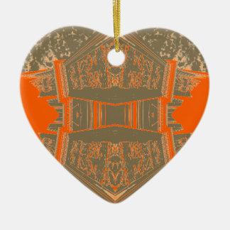 パターン(の模様が)あるな優雅の美しい秋のオレンジの芸術 セラミックオーナメント