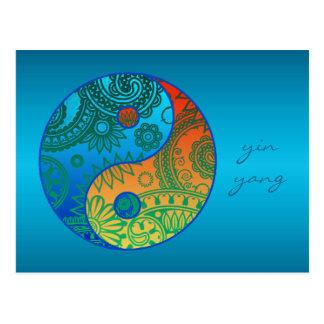 パターン(の模様が)あるな陰陽のオレンジおよび青 ポストカード