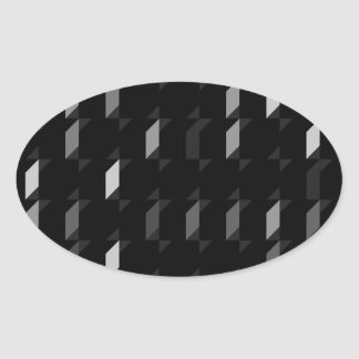 パターン(black05)を繰り返す立方体 楕円形シール