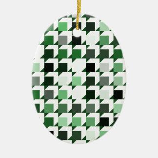 パターン(green01)を繰り返す立方体 セラミックオーナメント