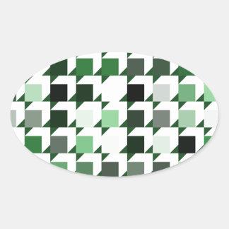 パターン(green01)を繰り返す立方体 楕円形シール