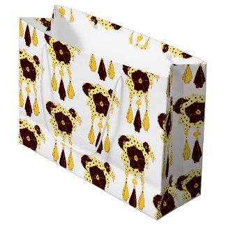 パターンNO.3: 抽象的な花柄のギフトバッグ ラージペーパーバッグ