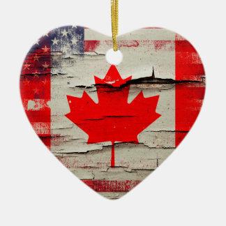 パチパチ鳴る音のペンキ のカナダの米国旗 セラミックオーナメント