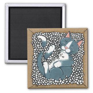 パッキングピーナツの箱で眠っている灰色のタキシード猫 マグネット