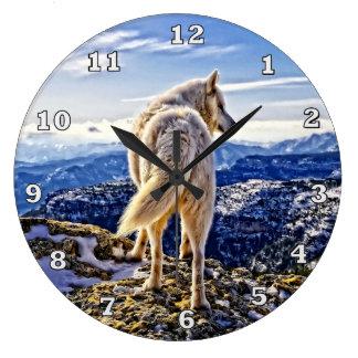 パックのオオカミの時計のリーダー ラージ壁時計