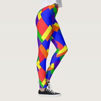 パッチワークのデザインの虹はレギンスを着色します レギンス