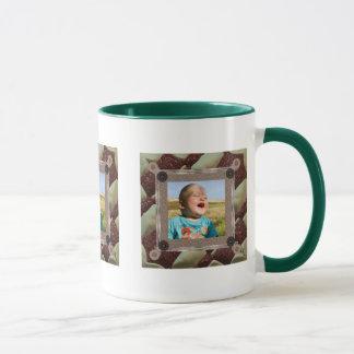 パッチワークの熱狂者の写真フレーム マグカップ