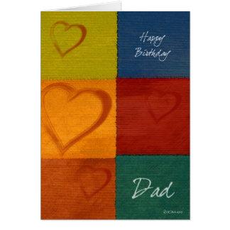 パッチワークの色およびハートの父のバースデー・カード カード