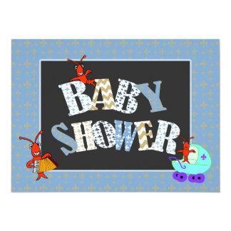 パッチワークの(紋章の)フラ・ダ・リのCrawfishのベビーシャワーの男の子 カード