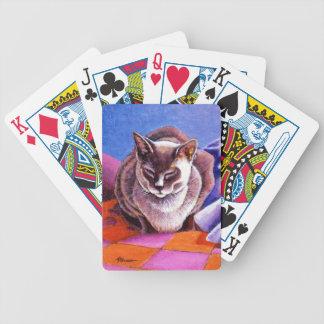 パッチワークキルトのシャム猫 バイスクルトランプ