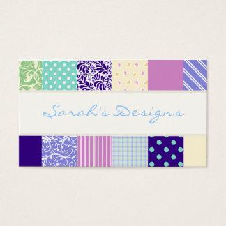 パッチワークパターンは-紫色、黄色及び青を平方します 名刺