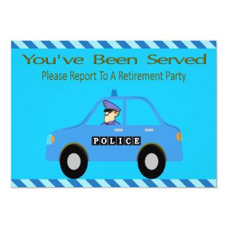 パトカーの役人の退職の招待状 12.7 X 17.8 インビテーションカード