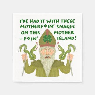パトリキウスのおもしろいな日は冗談の緑のアイルランド人を蛇行させます スタンダードカクテルナプキン